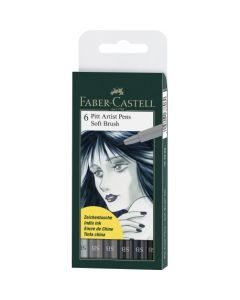 Permanent marker, 6culori/set, varf pensula, pentru desen,schite, PittArtistPen, FaberCastell-167806