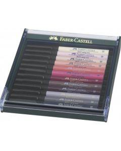 Permanent marker, 12culori/set, varf pensula, nuantele pielii, Pitt Artist Pen, Faber Castell-267424