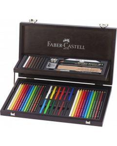Creioane colorate, in cutie lemn, compendiu, 54 piese/set, Art&Graphic, Faber Castell
