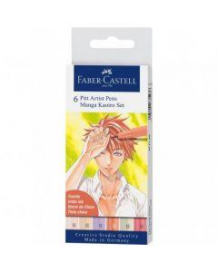 Liner, 6culori/set, varf pensula, Kaoiro, Pitt Artist Pen Manga, Faber Castell