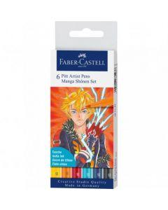 Liner, 6culori/set, varf pensula, Shonen, Pitt Artist Pen Manga, Faber Castell