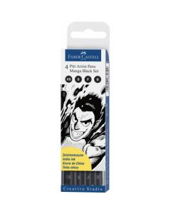 Liner, 4buc/set, negru, varf pensula, Pitt Artist Pen Manga, Faber Castell