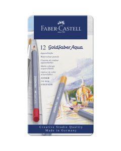 Creioane colorate, in cutie metal, 12culori/set, Aquarelle Goldfaber, Faber Castell