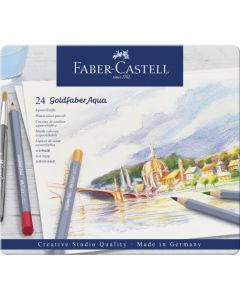 Creioane colorate, in cutie metal, 24culori/set, Aquarelle Goldfaber, Faber Castell