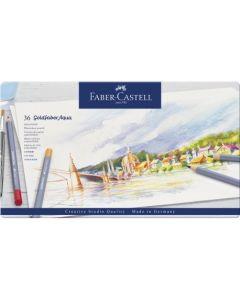 Creioane colorate, in cutie metal, 36culori/set, Aquarelle Goldfaber, Faber Castell