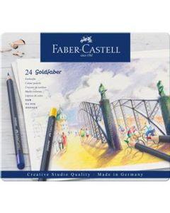 Creioane colorate, in cutie metal, 24culori/set, Goldfaber, Faber Castell