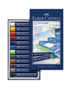 Creioane ulei pastel, 12culori/set, Faber Castell