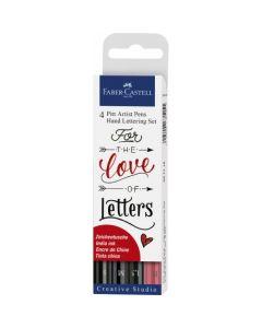 Permanent marker pentru caligrafie, 4buc/set, Pitt Artist Pen, Faber Castell