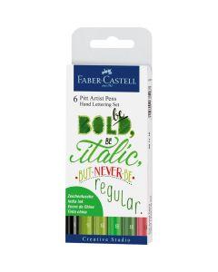Permanent marker pentru caligrafie, 6culori/set, tonuri de verde, Pitt Artist Pen, Faber Castell
