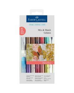 Pastel solubil, 12culori/set, culori metalice, Gelatos, Faber Castell