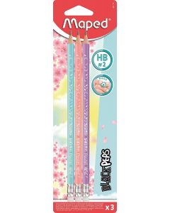 Creion cu guma, HB, 3buc/blister, Black Peps Pastel Maped