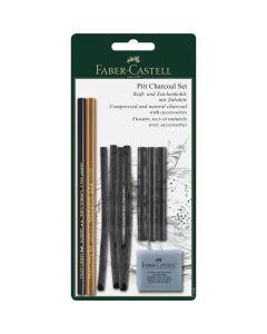 Creioane, carbune si radiera pentru desen si schite, 10piese/set, Pitt, Faber Castell