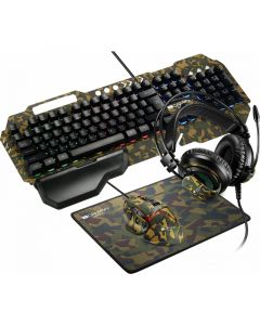 Kit tastatura cu fir, mouse cu fir, casti si pad mouse, CND-SGS03M-US, Gaming Argama Canyon