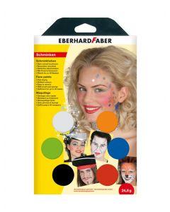 Acuarele pe baza de apa pentru pictura fata, 6 culori + pensula, Eberhard Faber