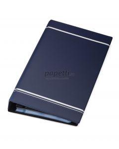 Clasor pentru carti vizita cu inele albastru A4/2, 4/pagina, Visifix 238507 Durable