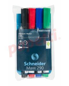 Whiteboard marker 4 buc/set (albastru, negru, rosu, verde), varf 3,0 mm, Maxx 290 Schneider
