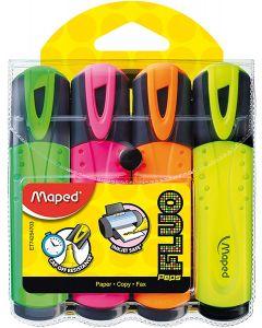 Textmarker 4 culori/set (galben, portocaliu, roz, verde), Fluo Peps Maped