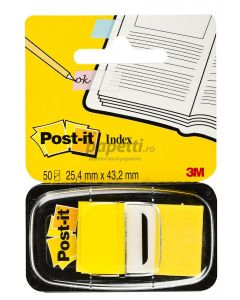 Index autoadeziv cu dispenser, 50 file/set, 25,4mm x 43,7mm, galben, Post-it 3M