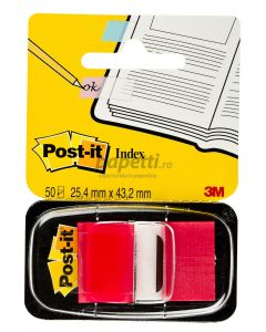 Index autoadeziv cu dispenser, 50 file/set, 25,4mm x 43,7mm, rosu, Post-it 3M