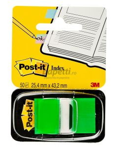 Index autoadeziv cu dispenser, 50 file/set, 25,4mm x 43,7mm, verde, Post-it 3M