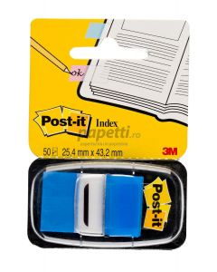 Index autoadeziv cu dispenser, 50 file/set, 25,4mm x 43,7mm, albastru, Post-it 3M