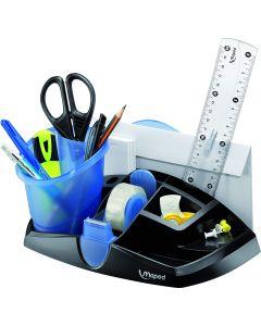 Suport accesorii birou, negru/albastru, Ergologic Maped