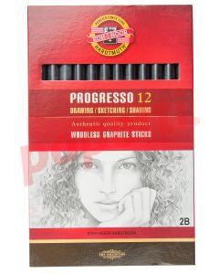 Creion grafit fara lemn, 2B, 12buc/cutie, Koh-I-Noor