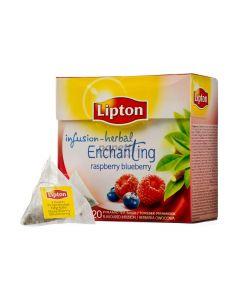 Ceai infuzie din zmeura si afine, 20plicuri/cutie, Lipton Enchanting Raspberry Blueberry Pyramid