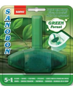Odorizant solid cu suport pentru toaleta, 55g, Green Forest 5 in 1 Sano Bon