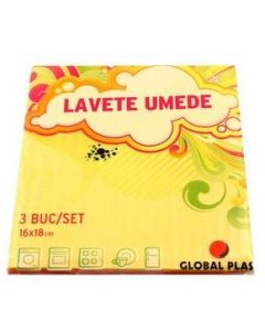 Lavete umede, 16x18cm, 3buc/set, Global