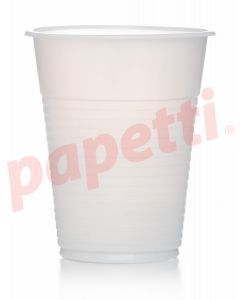 Pahare plastic albe, 200ml, 100buc/set, economice