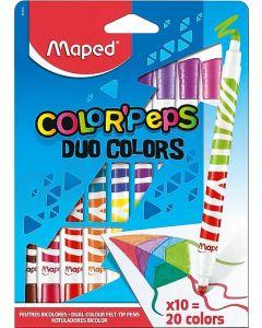 Carioca 2 varfuri, bicolor, 20culori, 10bucati/set Color Peps Duo Maped