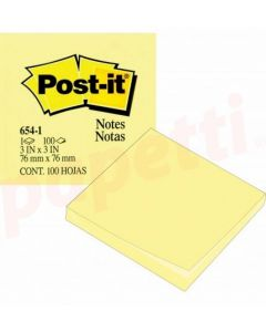 Notes autoadeziv 76mm x 76mm, 100 file/buc, galben pal, Post-it 3M