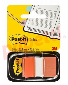 Index autoadeziv cu dispenser, 50 file/set, 25,4mm x 43,7mm, portocaliu, Post-it 3M