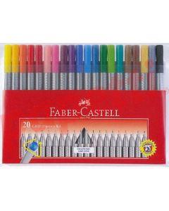 Liner 20 culori/set, varf 0,4mm, Grip Faber Castell